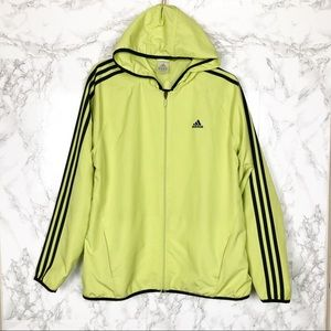Adidas Neon Green Zip Up Hooded Track Jacket Large